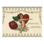 Corazón subió Cupid del ángel del Victorian de la  Postales