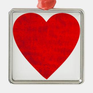 Corazón sucio adorno navideño cuadrado de metal