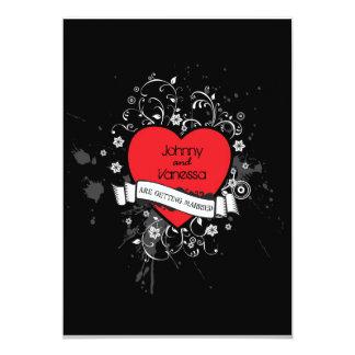 """Corazón sucio del rock-and-roll (rojo) invitación 5"""" x 7"""""""