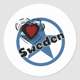Corazón Suecia Etiquetas Redondas