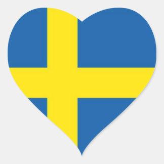 Corazón sueco de la bandera colcomanias de corazon