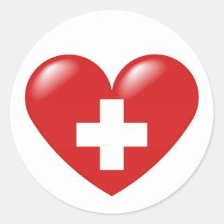 Corazón suizo - suisse de Schweizer Herz - de Pegatinas Redondas