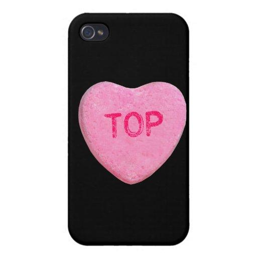 Corazón superior del caramelo iPhone 4 carcasas