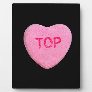 Corazón superior del caramelo placas de plastico