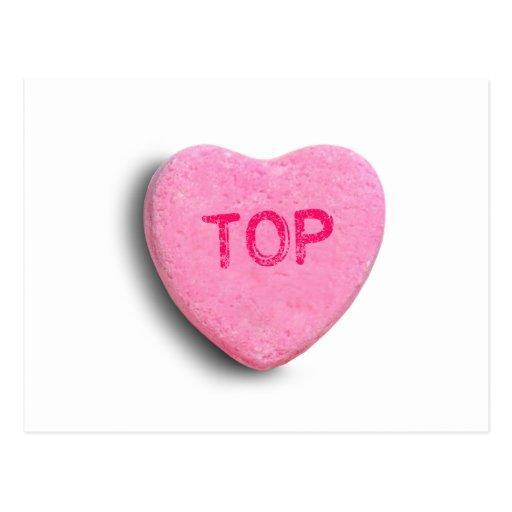 Corazón superior del caramelo tarjetas postales