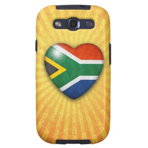 Corazón surafricano de la bandera en fondo del res galaxy SIII fundas