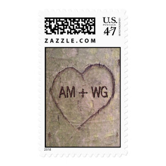 Corazón tallado en el árbol, naturaleza romántica sello postal