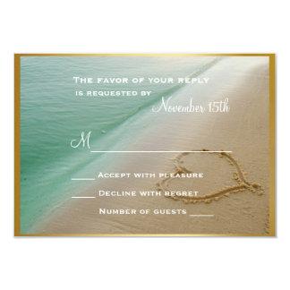 """Corazón tallado en la arena que casa la tarjeta de invitación 3.5"""" x 5"""""""