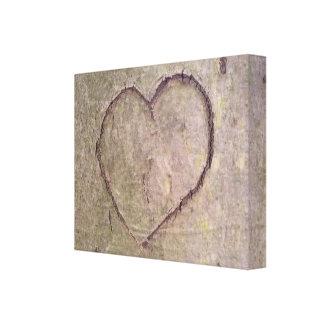 Corazón tallado en un árbol impresión en lienzo