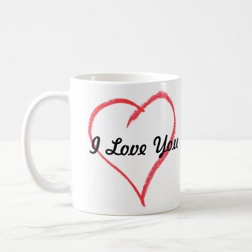 corazón, te amo taza básica blanca