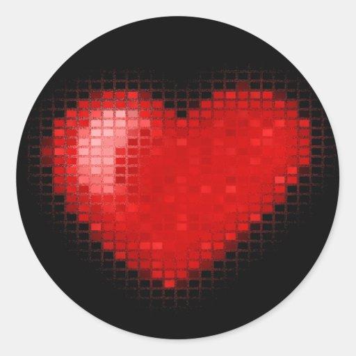 Corazón tejado del mosaico (rojo brillante) pegatina redonda