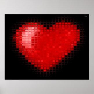 Corazón tejado del mosaico (rojo brillante) póster