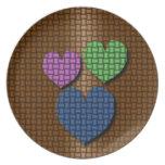 Corazón tejido plato para fiesta