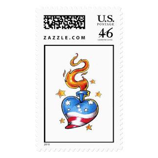 Corazón temático fresco de los E.E.U.U. con el tat Sellos