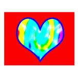 Corazón teñido lazo tarjeta postal