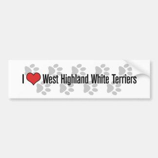 (Corazón) terrieres blancos de montaña del oeste I Pegatina Para Auto