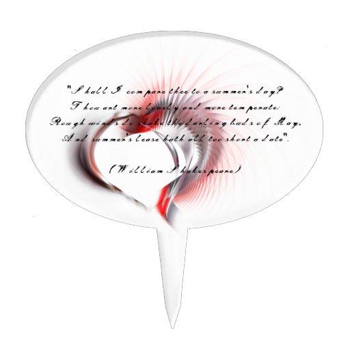 Corazón tribal con el soneto 18 de Shakespeare Palillos De Tarta
