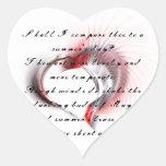 Corazón tribal con el soneto 18 de Shakespeare Pegatinas De Corazon