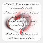 Corazón tribal con el soneto 18 de Shakespeare Pegatinas Cuadradas Personalizadas