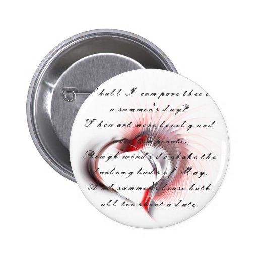 Corazón tribal con el soneto 18 de Shakespeare Pin