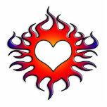 corazón tribal de las llamas esculturas fotográficas