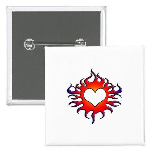 corazón tribal de las llamas pin cuadrada 5 cm
