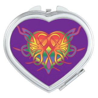 Corazón tribal del arco iris gay tribal espejos maquillaje