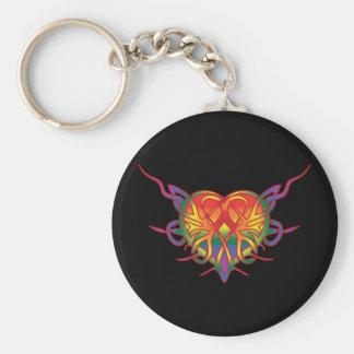 Corazón tribal del arco iris llavero redondo tipo pin