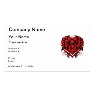 Corazón tribal del rojo del Flourish del gótico Tarjetas De Visita
