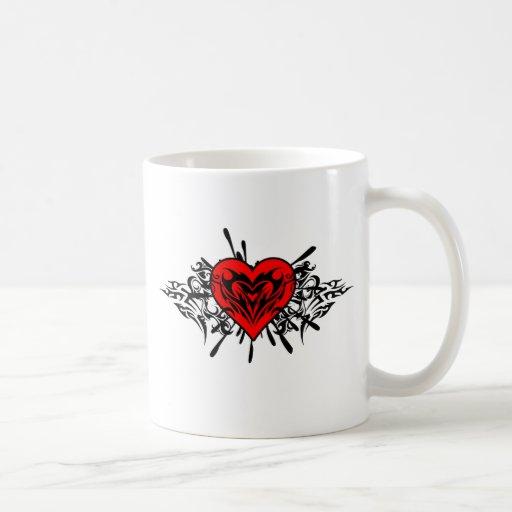 Corazón tribal tazas de café