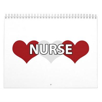 Corazón triple de la enfermera calendario