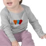 Corazón triple del amor camisetas