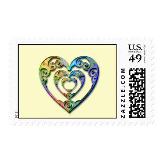 Corazón triple sellos postales