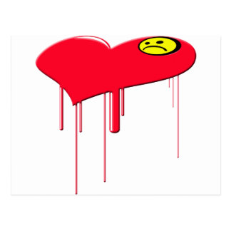 Corazón triste y cara triste postal