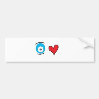 corazón u del ojo pegatina de parachoque