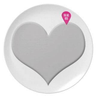 corazón usted está aquí - amor y el día de San Val Plato Para Fiesta