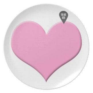 corazón usted está aquí - amor y el día de San Val Platos