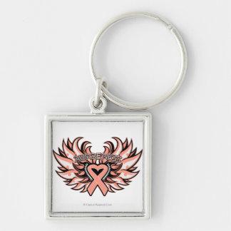 Corazón uterino Wings.png de la conciencia del Llavero Cuadrado Plateado