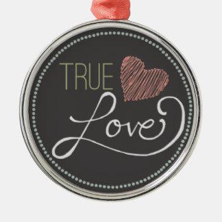Corazón verdadero de la pizarra del amor adorno navideño redondo de metal