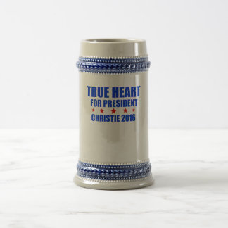 Corazón verdadero para presidente Chris Christie Jarra De Cerveza