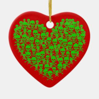 Corazón verde adaptable de Skully Adornos De Navidad