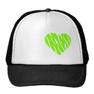 Corazón verde chartreuse, de neón gorras de camionero