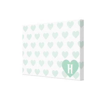 Corazón verde claro grande - monograma impresion en lona