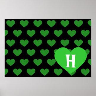 Corazón verde claro grande y fondo negro póster