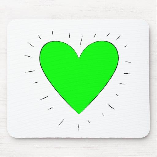 Corazón verde - cojín de ratón tapetes de raton