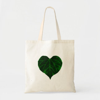 Corazón verde de la hoja bolsas lienzo