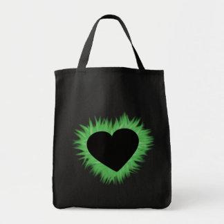 Corazón verde de la llama bolsa tela para la compra