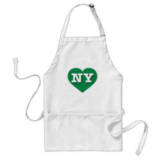 Corazón verde de Nueva York NY Delantal
