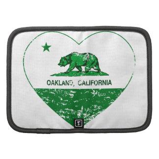 corazón verde de Oakland de la bandera de Californ Organizador