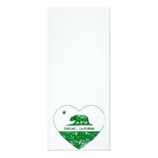 """corazón verde de Oakland de la bandera de Invitación 4"""" X 9.25"""""""
